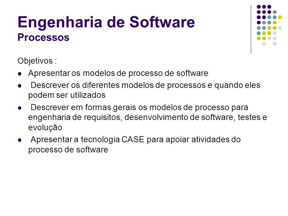 Engenharia de Software Processos Objetivos : Apresentar os modelos de processo de software Descrever os diferentes modelos de processos e quando eles