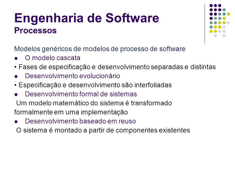 Engenharia de Software Processos Modelos genéricos de modelos de processo de software O modelo cascata Fases de especificação e desenvolvimento separa