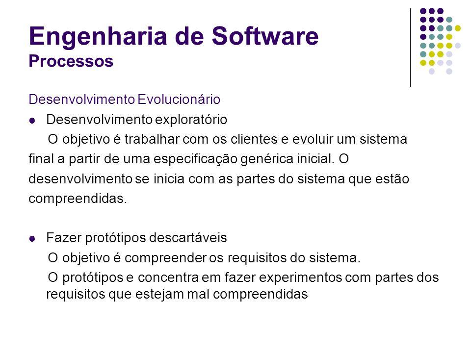 Engenharia de Software Processos Desenvolvimento Evolucionário Desenvolvimento exploratório O objetivo é trabalhar com os clientes e evoluir um sistem