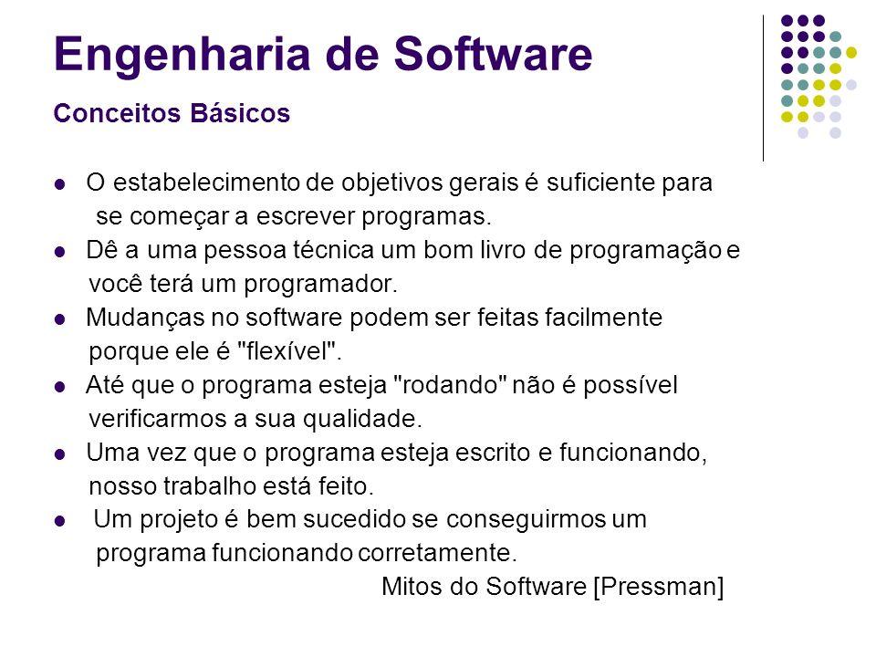 Engenharia de Software Conceitos Básicos O estabelecimento de objetivos gerais é suficiente para se começar a escrever programas. Dê a uma pessoa técn