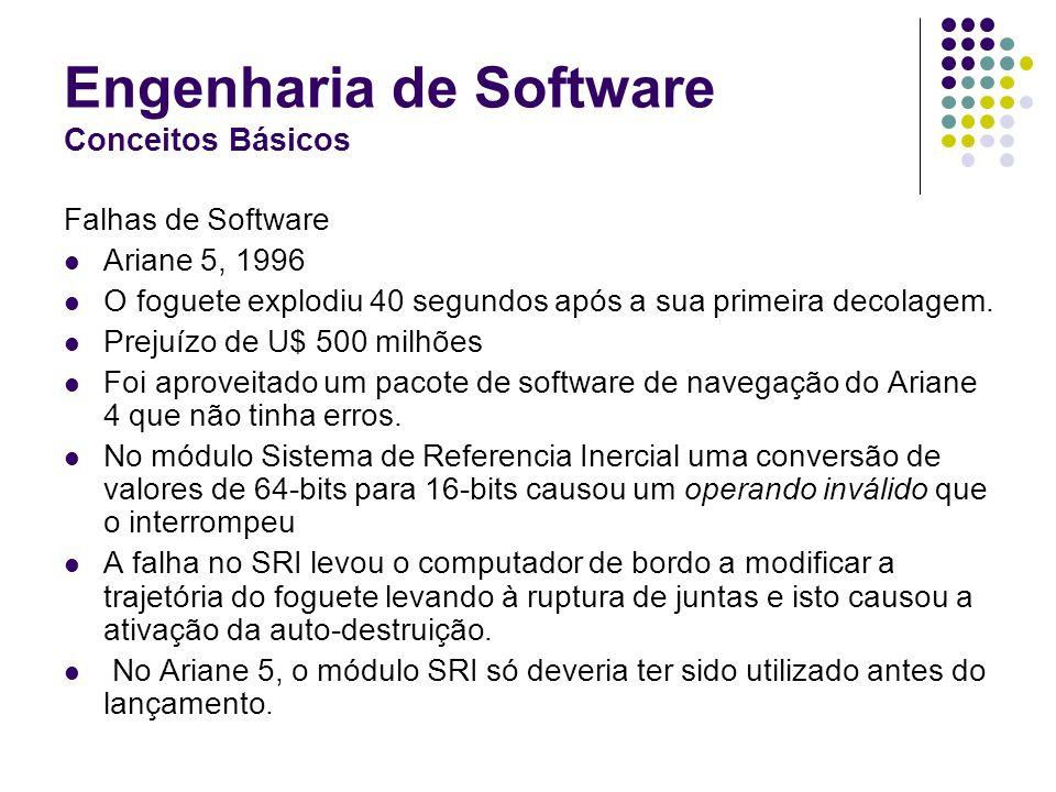 Engenharia de Software Conceitos Básicos Falhas de Software Ariane 5, 1996 O foguete explodiu 40 segundos após a sua primeira decolagem. Prejuízo de U