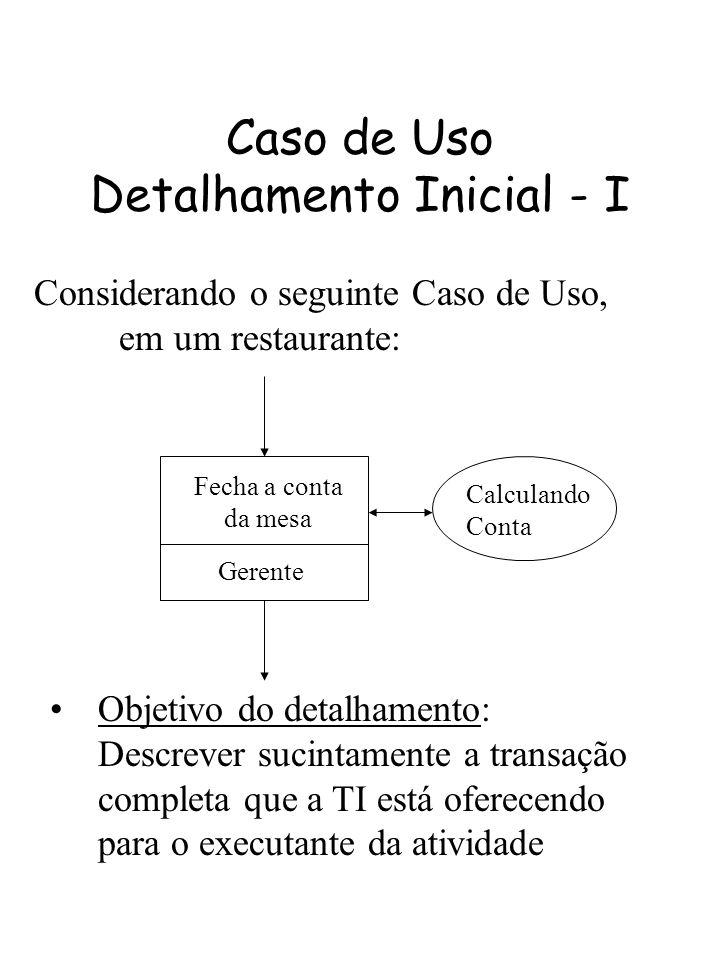 Caso de Uso Detalhamento Inicial - I Considerando o seguinte Caso de Uso, em um restaurante: Fecha a conta da mesa Gerente Calculando Conta Objetivo d
