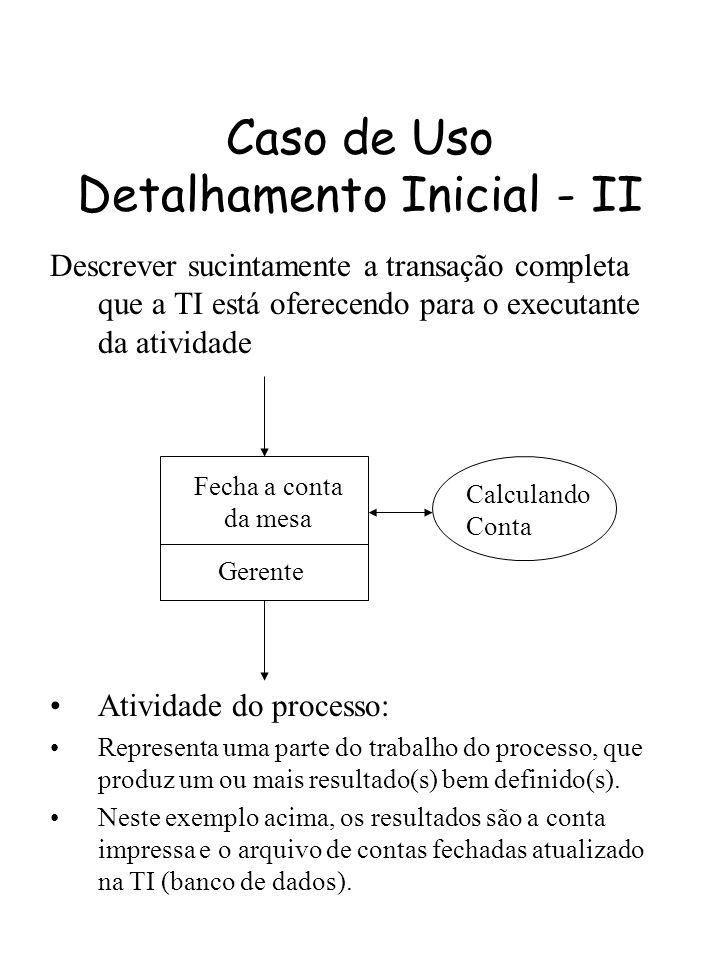Caso de Uso Detalhamento Inicial - II Fecha a conta da mesa Gerente Calculando Conta Atividade do processo: Representa uma parte do trabalho do proces