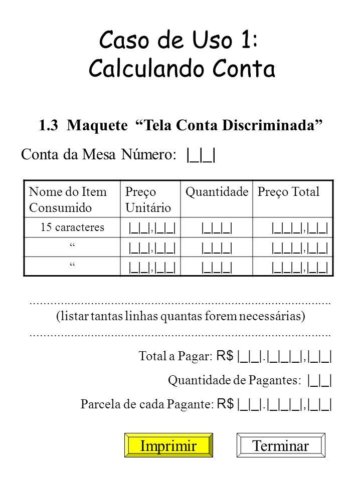 Caso de Uso 1: Calculando Conta 1.3 Maquete Tela Conta Discriminada Conta da Mesa Número: |_|_| Nome do Item Consumido Preço Unitário QuantidadePreço