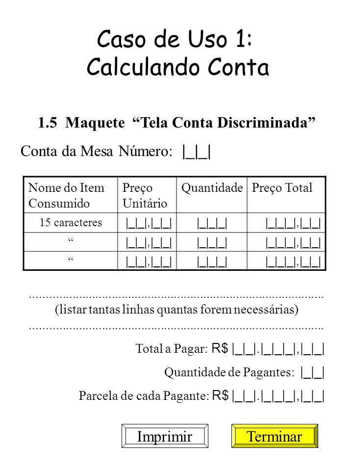 Caso de Uso 1: Calculando Conta 1.5 Maquete Tela Conta Discriminada Conta da Mesa Número: |_|_| Nome do Item Consumido Preço Unitário QuantidadePreço