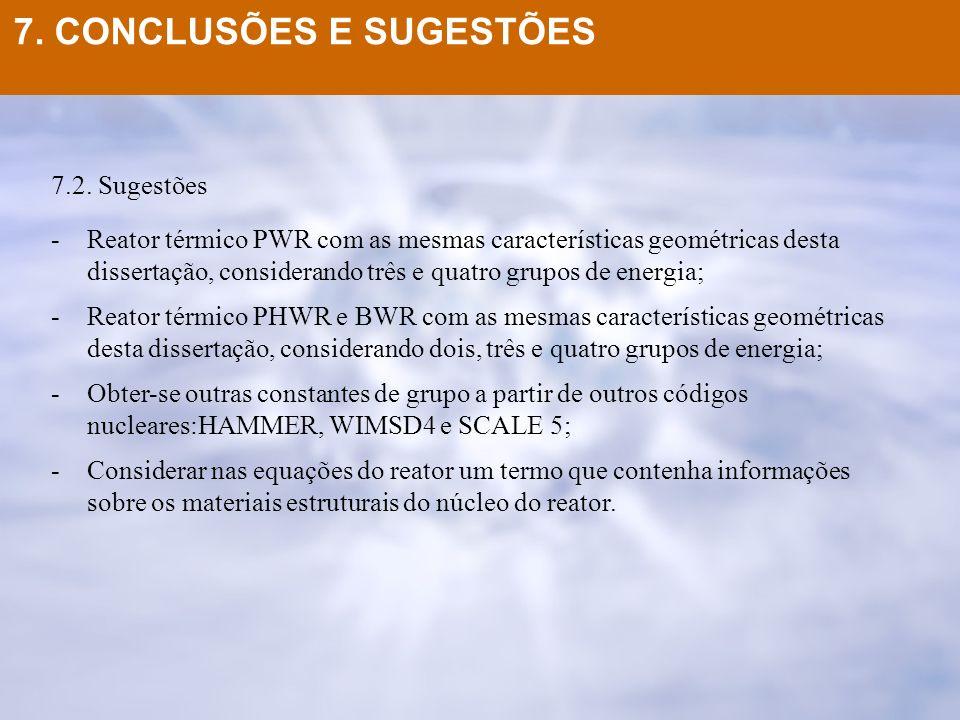 7.2. Sugestões -Reator térmico PWR com as mesmas características geométricas desta dissertação, considerando três e quatro grupos de energia; -Reator
