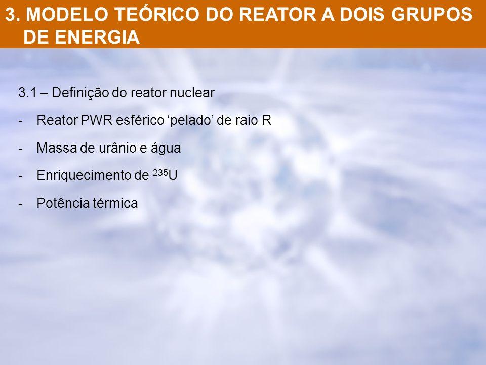 3. MODELO TEÓRICO DO REATOR A DOIS GRUPOS DE ENERGIA 3.1 – Definição do reator nuclear -Reator PWR esférico pelado de raio R -Massa de urânio e água -