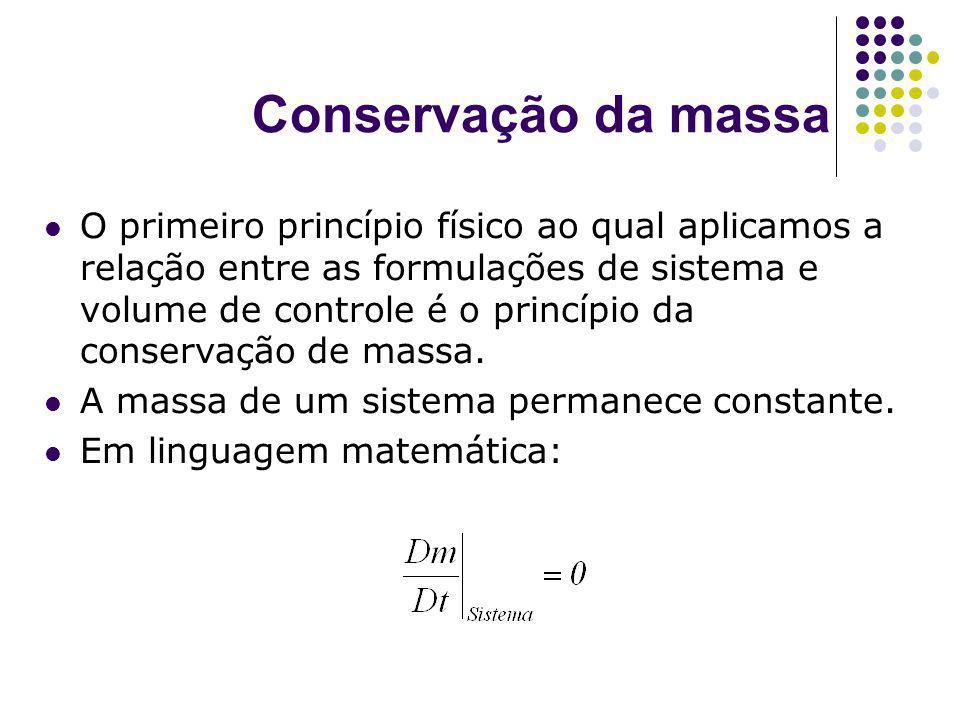 Conservação da massa O primeiro princípio físico ao qual aplicamos a relação entre as formulações de sistema e volume de controle é o princípio da con