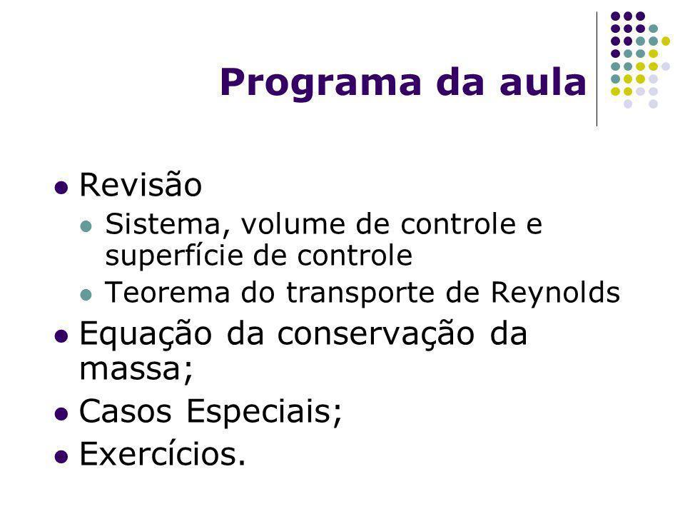 Programa da aula Revisão Sistema, volume de controle e superfície de controle Teorema do transporte de Reynolds Equação da conservação da massa; Casos