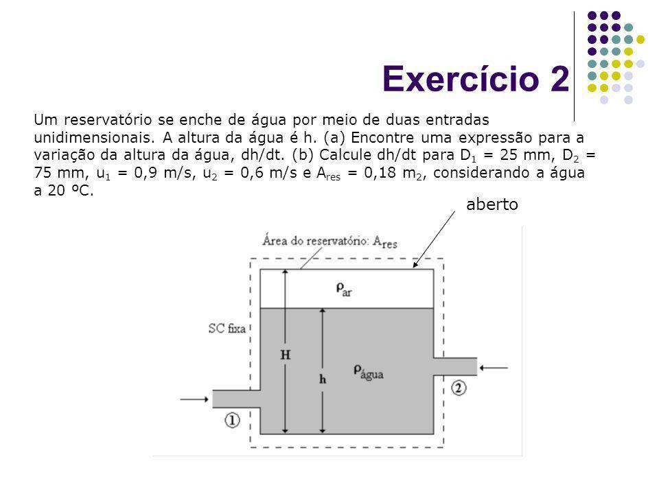 Exercício 2 Um reservatório se enche de água por meio de duas entradas unidimensionais. A altura da água é h. (a) Encontre uma expressão para a variaç