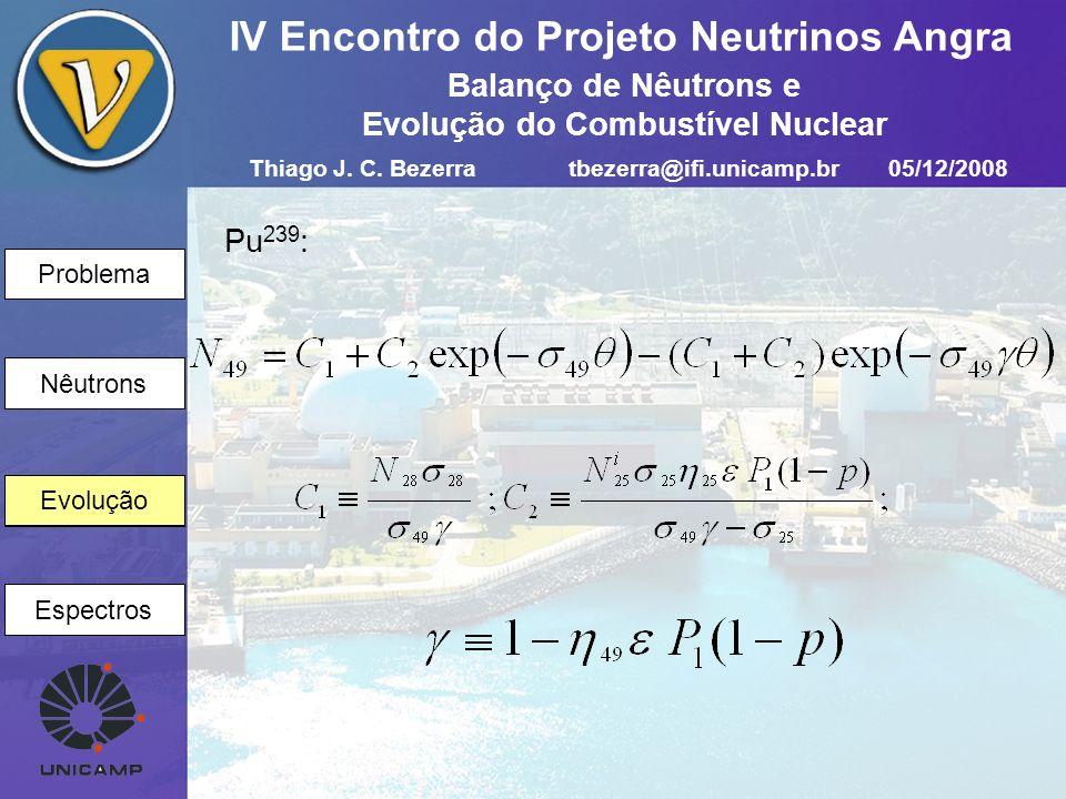 Problema Nêutrons Evolução Espectros IV Encontro do Projeto Neutrinos Angra Evolução Pu 239 : Thiago J. C. Bezerratbezerra@ifi.unicamp.br05/12/2008 Ba