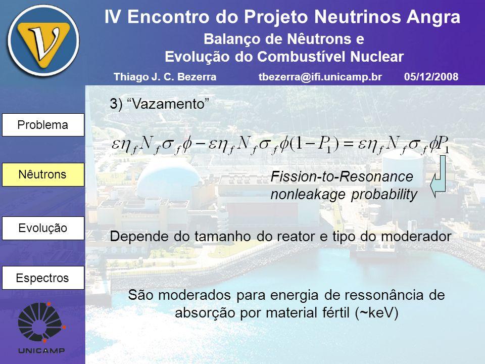 Problema Nêutrons Evolução Espectros IV Encontro do Projeto Neutrinos Angra Nêutrons 4) Ressonância Resonance escape probability Função das proporções relativas e arranjo físico do moderador e do material fértil Thiago J.