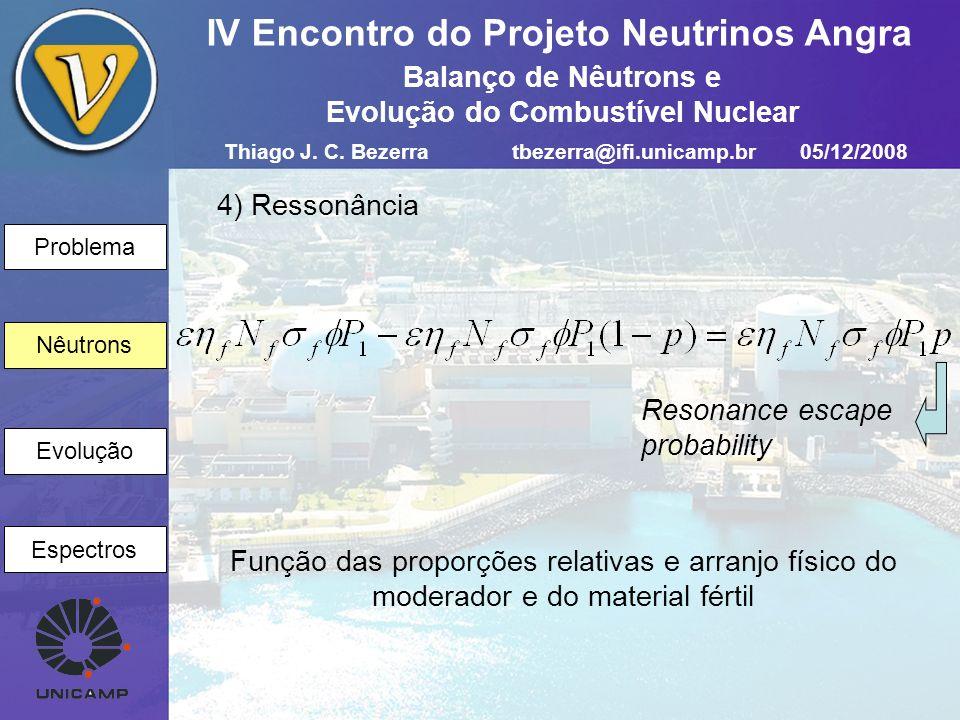 Problema Nêutrons Evolução Espectros IV Encontro do Projeto Neutrinos Angra 5) Vazamento 2 Nêutrons Resonance-to-thermal nonleakage probability 6) Nêutrons térmicos Vazamento 3 Absorção por material não físsil Thiago J.