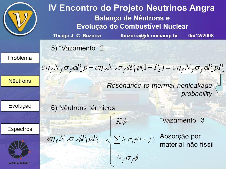 Problema Nêutrons Evolução Espectros IV Encontro do Projeto Neutrinos Angra 5) Vazamento 2 Nêutrons Resonance-to-thermal nonleakage probability 6) Nêu