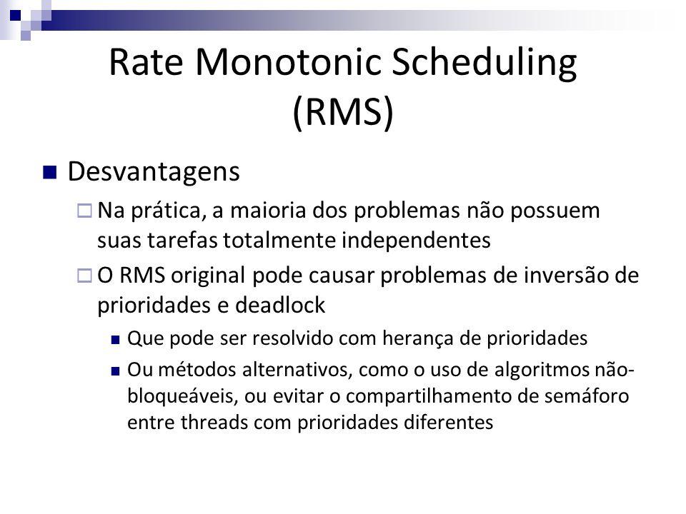 Desvantagens Na prática, a maioria dos problemas não possuem suas tarefas totalmente independentes O RMS original pode causar problemas de inversão de