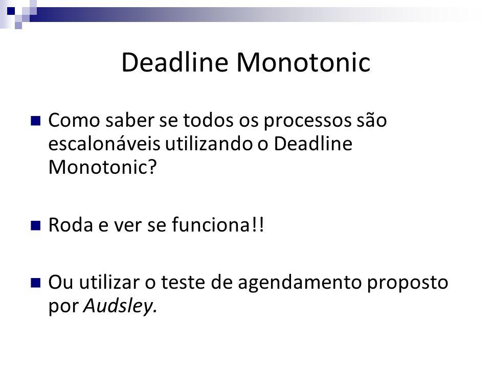 Deadline Monotonic Como saber se todos os processos são escalonáveis utilizando o Deadline Monotonic? Roda e ver se funciona!! Ou utilizar o teste de