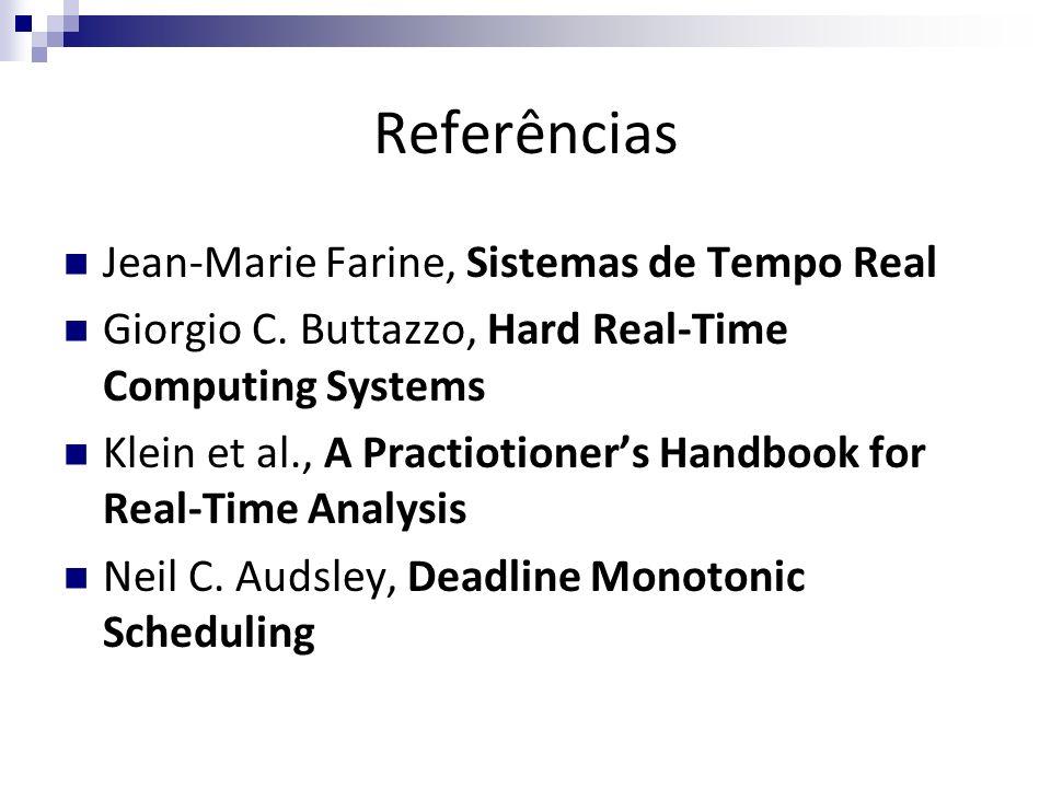 Referências Jean-Marie Farine, Sistemas de Tempo Real Giorgio C. Buttazzo, Hard Real-Time Computing Systems Klein et al., A Practiotioners Handbook fo