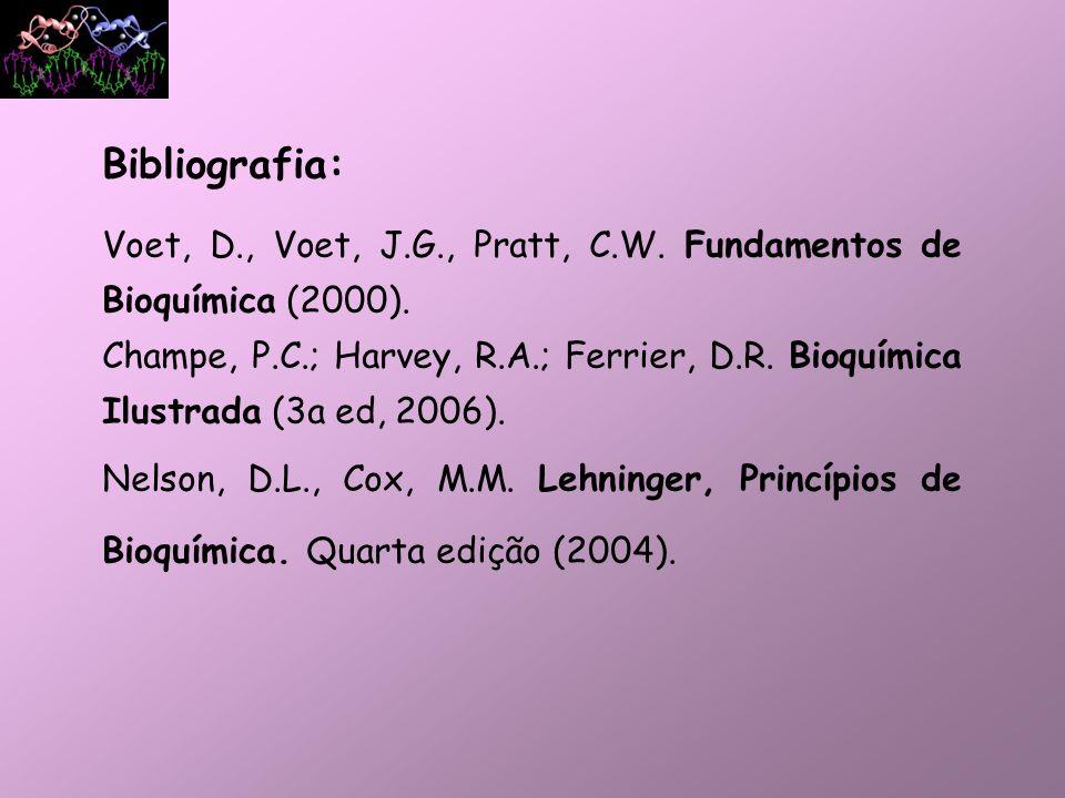 Bibliografia: Voet, D., Voet, J.G., Pratt, C.W. Fundamentos de Bioquímica (2000). Champe, P.C.; Harvey, R.A.; Ferrier, D.R. Bioquímica Ilustrada (3a e