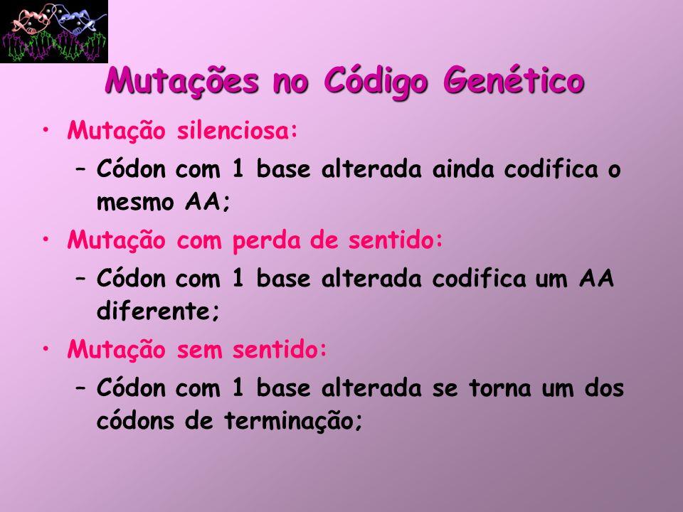 Mutação silenciosa: –Códon com 1 base alterada ainda codifica o mesmo AA; Mutação com perda de sentido: –Códon com 1 base alterada codifica um AA dife