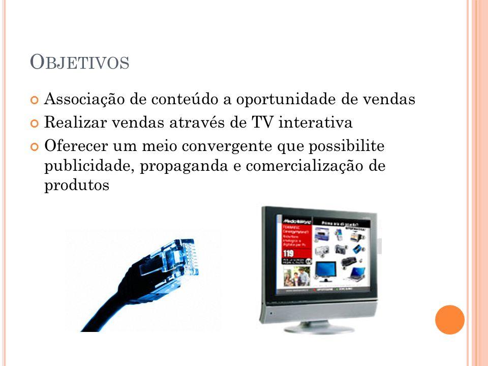 O BJETIVOS Associação de conteúdo a oportunidade de vendas Realizar vendas através de TV interativa Oferecer um meio convergente que possibilite publicidade, propaganda e comercialização de produtos