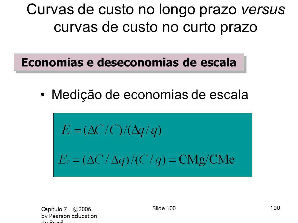 99 Capítulo 7 ©2006 by Pearson Education do Brasil Slide 99 Medição de economias de escala –E c = variação percentual do custo resultante de um aument