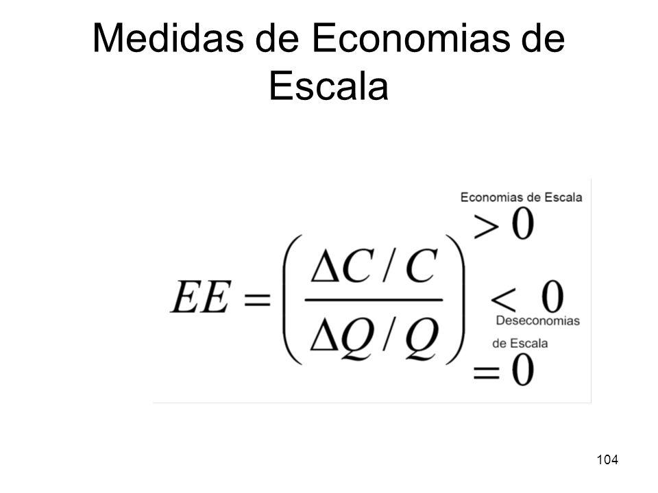 103 Medidas de Economias de Escala Forma prática: relacionar MC (custo marginal) com AC (custo médio) de modo que s= AC/MC Se MC > AC: deseconomias de