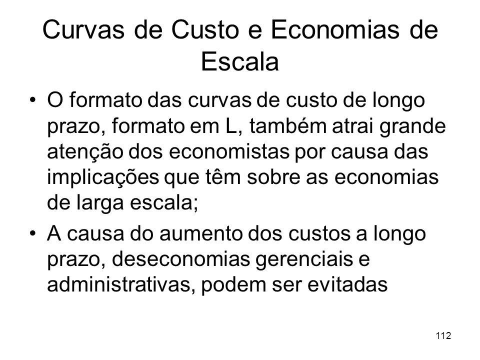111 Curvas de Custo e Economias de Escala Stigler: Afirma que curva de custos médios variáveis de curto prazo (SAC) têm um trecho achatado (horizontal