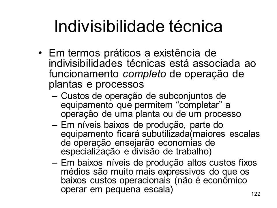 121 2. Indivisibilidade técnica Indivisibilidade técnica ocorre quando certos itens básicos do equipamento estão disponíveis apenas em número limitado