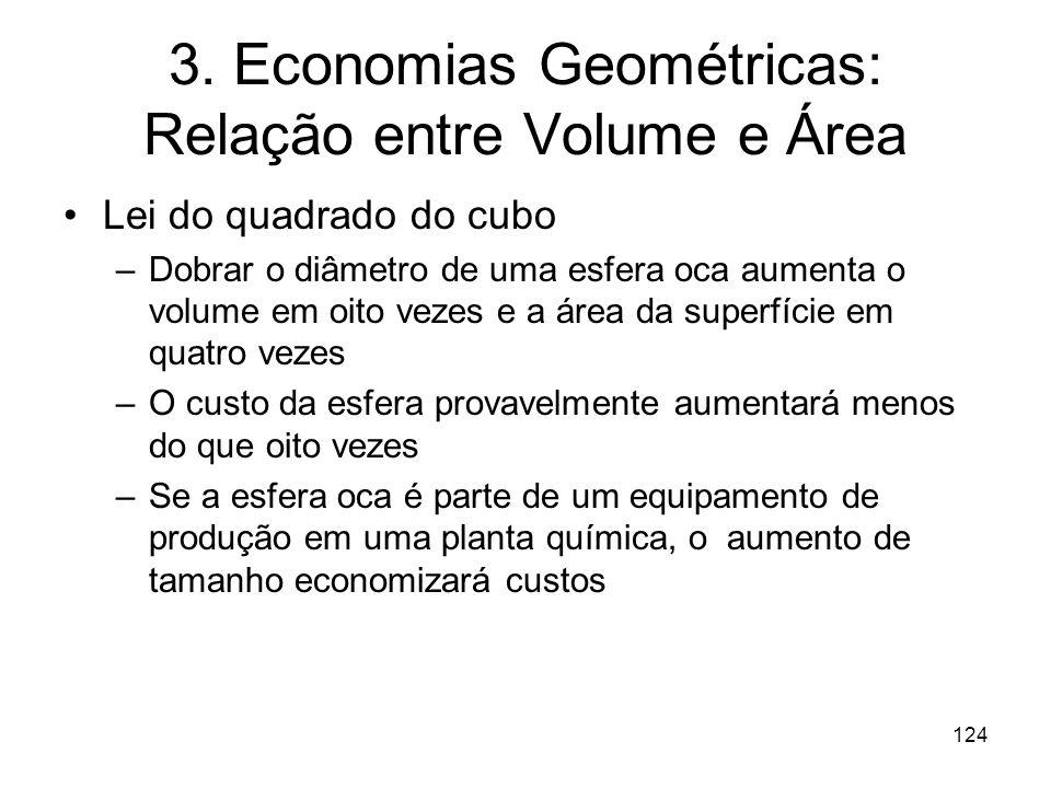 123 3. Economias Geométricas: Relação entre Volume e Área Indústrias de processo: quantidades produzidas dependem do volume ( e seus limites físicos)