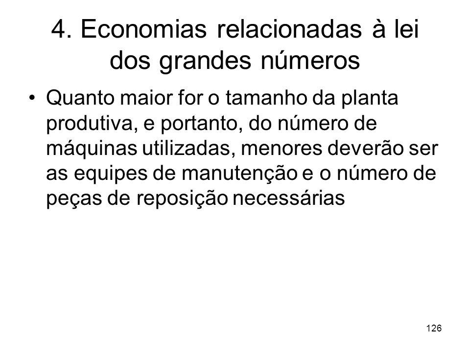 125 Economias Geométricas: Exemplos: cimento, gás, refino de petróleo, eletricidade,química, vidro,aço Os métodos de produção incluem também incluem e