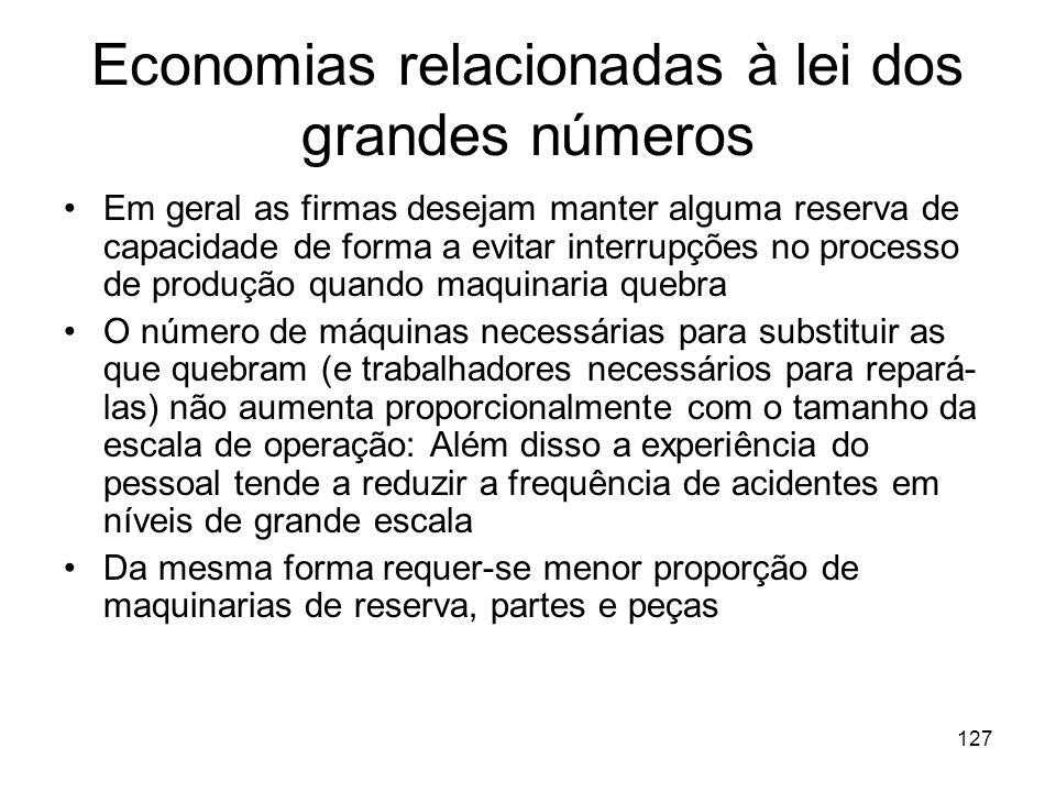 126 4. Economias relacionadas à lei dos grandes números Quanto maior for o tamanho da planta produtiva, e portanto, do número de máquinas utilizadas,