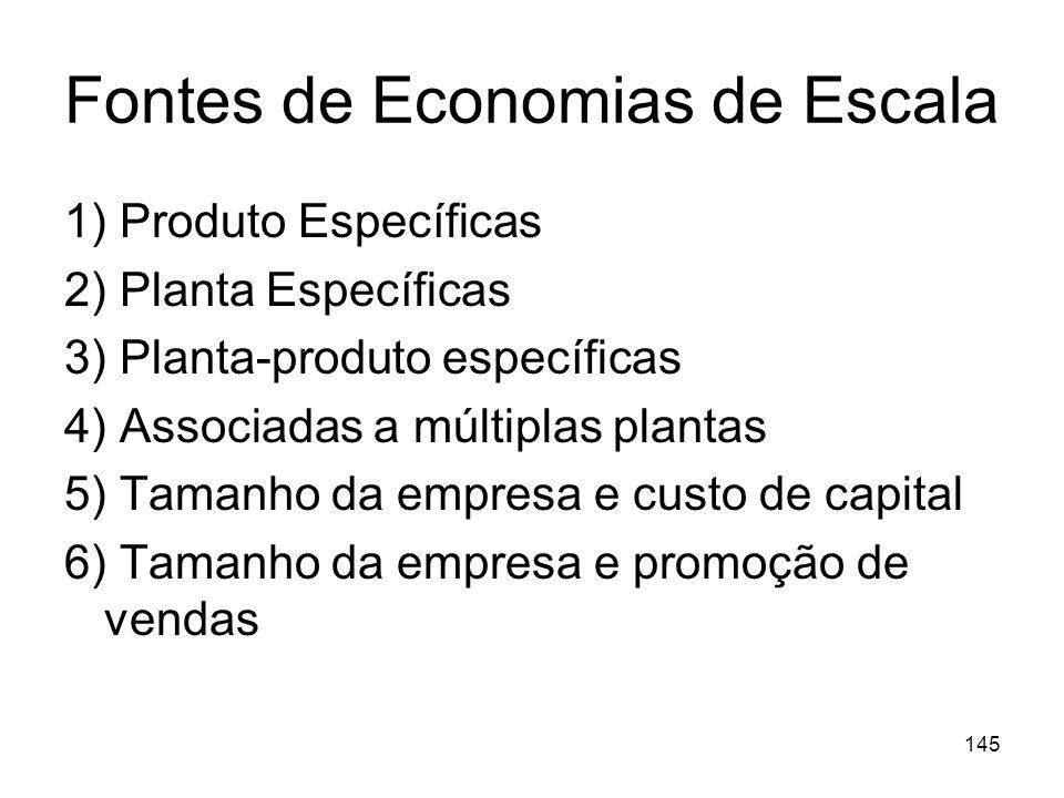 144 Economias de escala e Barreiras à Entrada A análise dos efeitos das Economias de Escala sobre a concorrência potencial é complexa, visto que estes