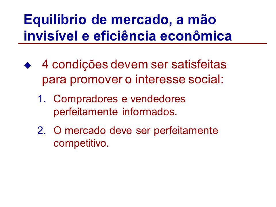 Equilíbrio de mercado, a mão invisível e eficiência econômica A mão invisível descreve que as ações de compradores e vendedores individuais, cada um a