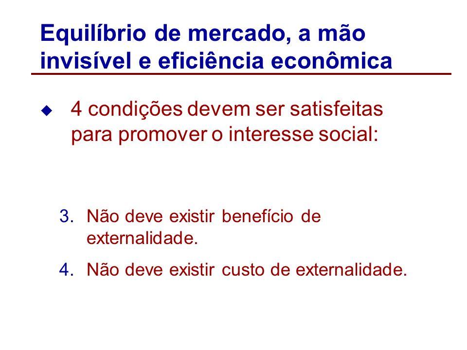 Equilíbrio de mercado, a mão invisível e eficiência econômica 4 condições devem ser satisfeitas para promover o interesse social: 1.Compradores e vend