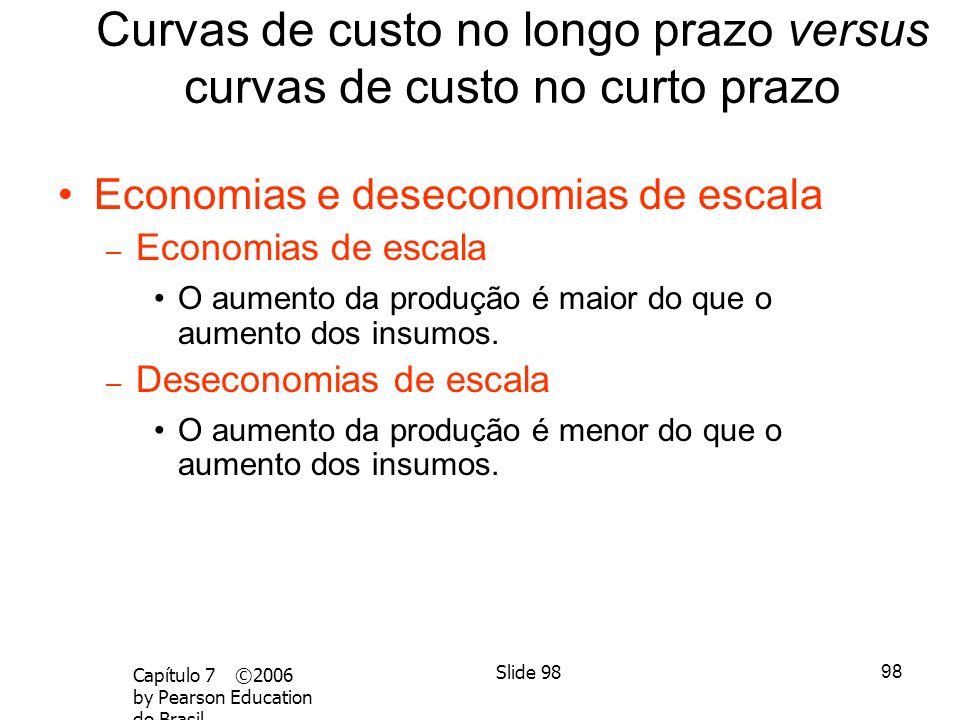 97 Capítulo 7 ©2006 by Pearson Education do Brasil Slide 97 Curvas de custo no longo prazo versus curvas de custo no curto prazo Produção Custo (dólar