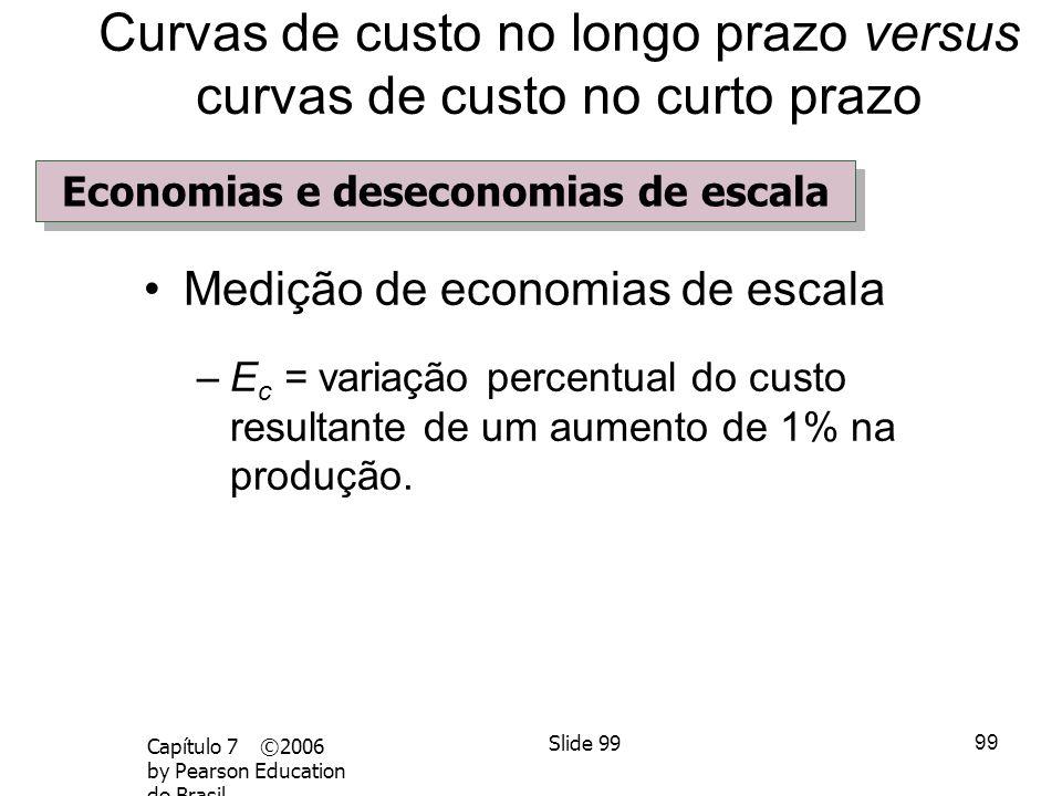 98 Capítulo 7 ©2006 by Pearson Education do Brasil Slide 98 Economias e deseconomias de escala – Economias de escala O aumento da produção é maior do