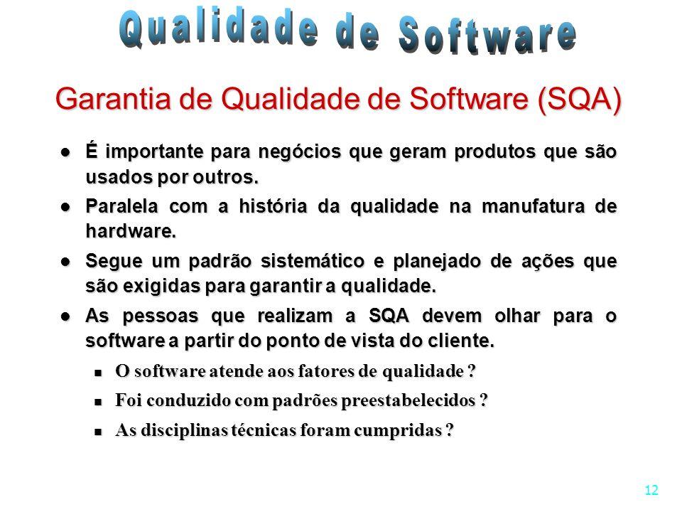 12 Garantia de Qualidade de Software (SQA) É importante para negócios que geram produtos que são usados por outros. É importante para negócios que ger