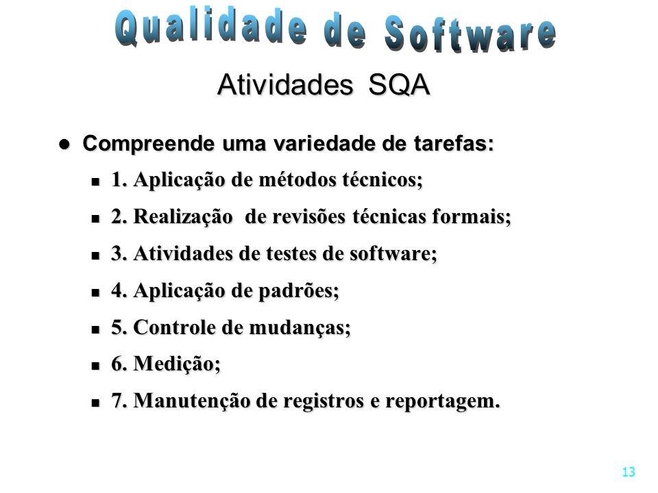 13 Atividades SQA Compreende uma variedade de tarefas: Compreende uma variedade de tarefas: 1. Aplicação de métodos técnicos; 1. Aplicação de métodos
