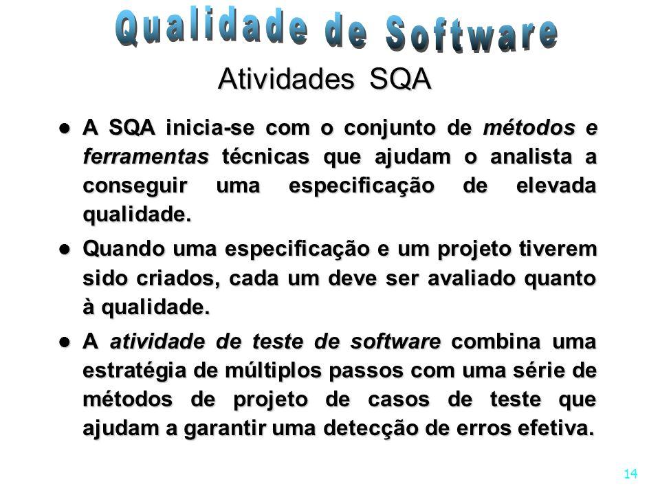 14 Atividades SQA A SQA inicia-se com o conjunto de métodos e ferramentas técnicas que ajudam o analista a conseguir uma especificação de elevada qual