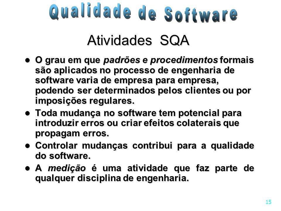 15 Atividades SQA O grau em que padrões e procedimentos formais são aplicados no processo de engenharia de software varia de empresa para empresa, pod