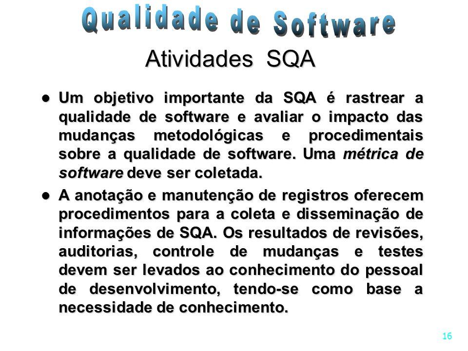 16 Atividades SQA Um objetivo importante da SQA é rastrear a qualidade de software e avaliar o impacto das mudanças metodológicas e procedimentais sob