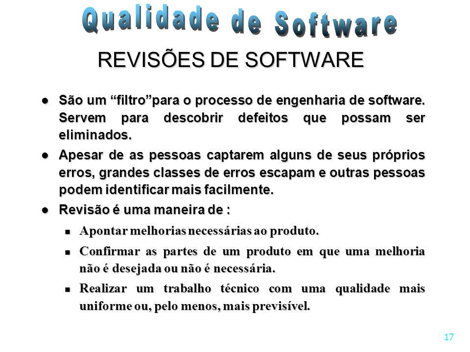 17 REVISÕES DE SOFTWARE São um filtropara o processo de engenharia de software. Servem para descobrir defeitos que possam ser eliminados. São um filtr