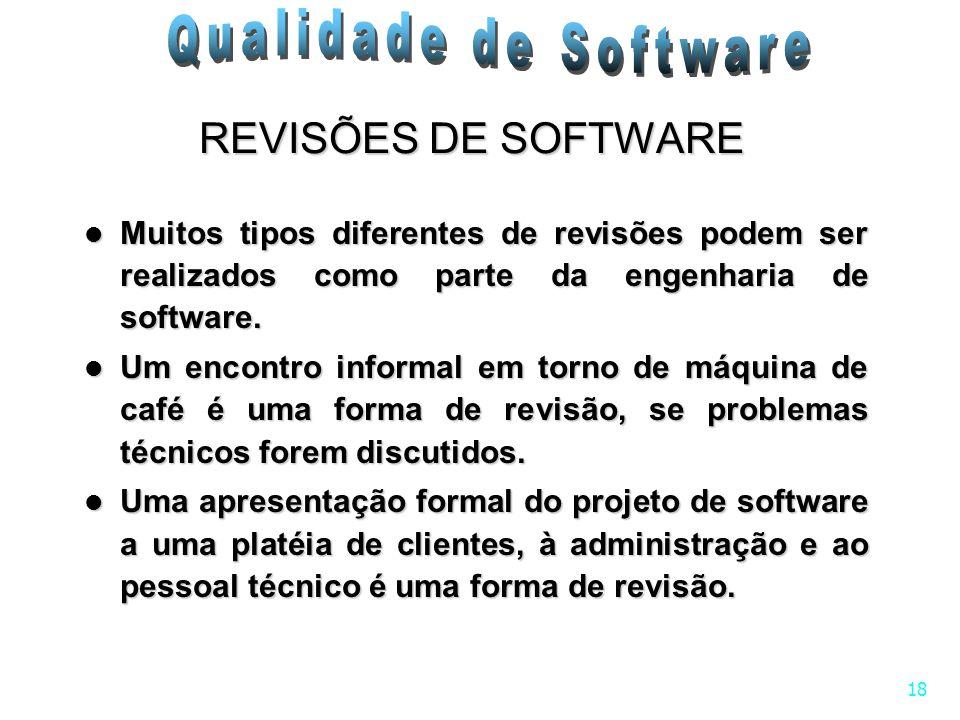 18 Muitos tipos diferentes de revisões podem ser realizados como parte da engenharia de software. Muitos tipos diferentes de revisões podem ser realiz