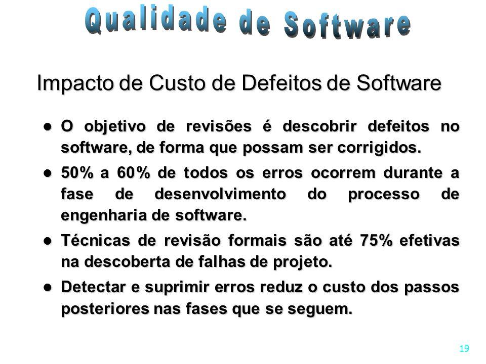 19 Impacto de Custo de Defeitos de Software O objetivo de revisões é descobrir defeitos no software, de forma que possam ser corrigidos. O objetivo de