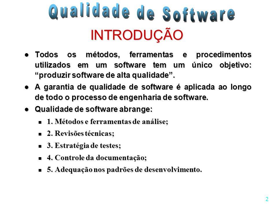 2 INTRODUÇÃO Todos os métodos, ferramentas e procedimentos utilizados em um software tem um único objetivo: produzir software de alta qualidade. Todos