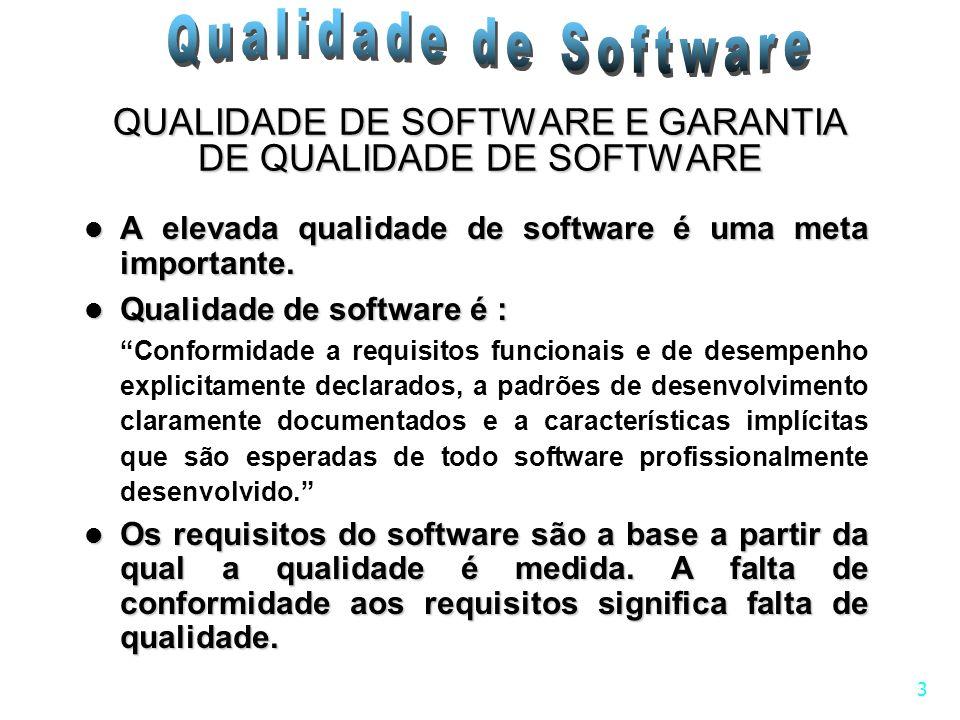 3 QUALIDADE DE SOFTWARE E GARANTIA DE QUALIDADE DE SOFTWARE A elevada qualidade de software é uma meta importante. A elevada qualidade de software é u