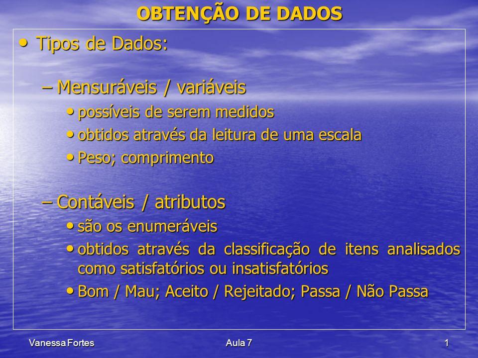 Vanessa FortesAula 71 OBTENÇÃO DE DADOS Tipos de Dados: Tipos de Dados: –Mensuráveis / variáveis possíveis de serem medidos possíveis de serem medidos