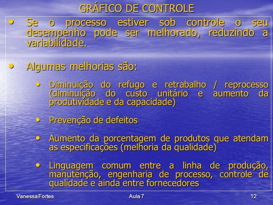Vanessa FortesAula 712 Se o processo estiver sob controle o seu desempenho pode ser melhorado, reduzindo a variabilidade. Se o processo estiver sob co