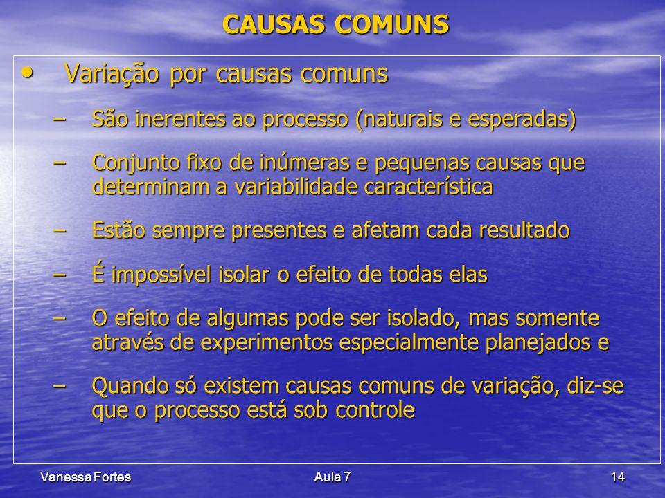 Vanessa FortesAula 714 CAUSAS COMUNS Variação por causas comuns Variação por causas comuns –São inerentes ao processo (naturais e esperadas) –Conjunto