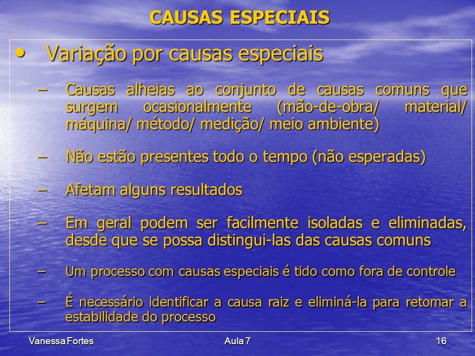 Vanessa FortesAula 716 CAUSAS ESPECIAIS Variação por causas especiais Variação por causas especiais –Causas alheias ao conjunto de causas comuns que s